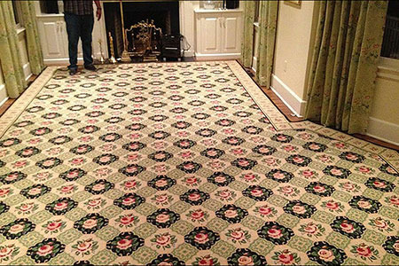 Custom patterned carpet installation